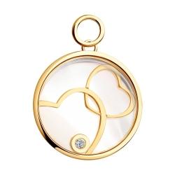 Золотая подвеска Два сердца с сапфировым стеклом SOKOLOV
