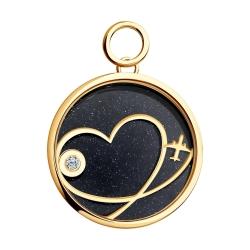 Золотая подвеска Сердце с сапфировым стеклом SOKOLOV