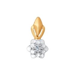 Золотая подвеска Цветок с бриллиантами SOKOLOV
