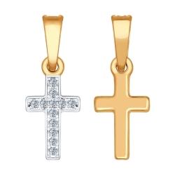 Золотой крестик с бриллиантами SOKOLOV