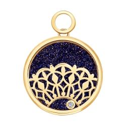 Золотая подвеска Ажур (Бриллиант, Авантюрин, Сапфировое стекло) SOKOLOV
