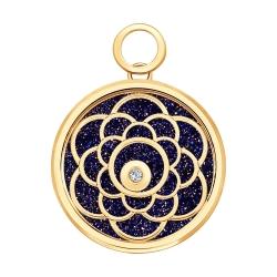 Золотая подвеска Цветок (Сапфировое стекло, Авантюрин, Бриллиант) SOKOLOV