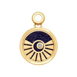 Золотая подвеска Солнце(Бриллиант, Авантюрин, Сапфировое стекло) SOKOLOV