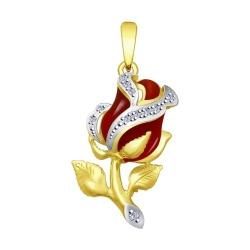 Подвеска из желтого золота с эмалью и бриллиантами