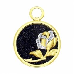 Подвеска из желтого золота с бриллиантами и авантюриновое стекло