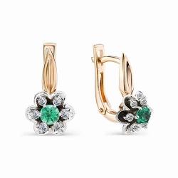 Серьги с изумрудами окруженными бриллиантами