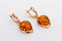 Серьги Amber из красного золота с янтарем