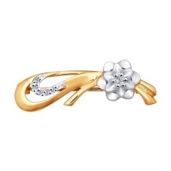 Золотая брошь в виде цветка «Роза» с бриллиантами SOKOLOV