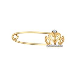 Золотая булавка Корона с бриллиантами SOKOLOV