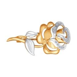 Золотая брошь «Роза» (Бриллиант) SOKOLOV