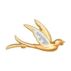 Золотая брошь Птица (Бриллиант) SOKOLOV