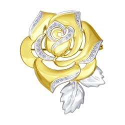 Брошь Роза из желтого золота с бриллиантами