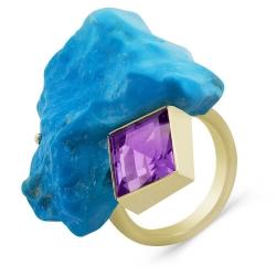 Эксклюзивное кольцо из жёлтого золота с бирюзой и аметистом