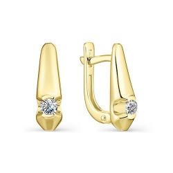 Серьги из желтого золота с бриллиантом