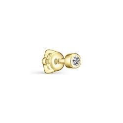 Серьга-гвоздик из желтого золота с бриллиантом