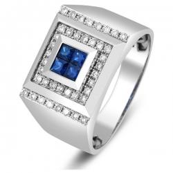 Кольцо мужское с бриллиантами и сапфирами