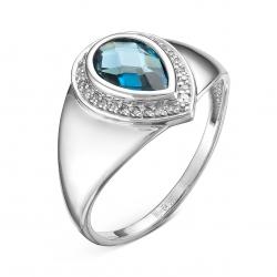 Женское кольцо из белого золота c топазом и бриллиантом