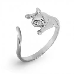 Кольцо Кошка из белого золота с фианитами