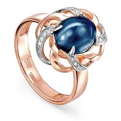 Кольцо из красного золота 585 пробы с бриллиантами и сапфиром звездчатым