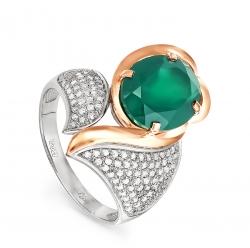 Золотое кольцо c ониксом и бриллиантом