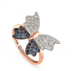 Золотое кольцо Бабочка c сапфиром и бриллиантом