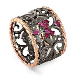 Кольцо из красного золота 585 пробы с рубинами