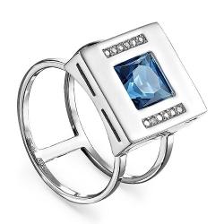 Женское кольцо из белого золота с топазом Лондон и бриллиантом