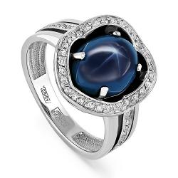 Кольцо из белого золота 585 пробы с бриллиантами и сапфиром звездчатым