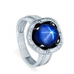 Женское кольцо из белого золота cо звездчатым сапфиром и бриллиантом