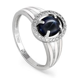 Кольцо из белого золота 585 пробы с бриллиантами, сапфиром звездчатым и эмалью