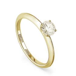 Женское кольцо из желтого золота с бриллиантом Шампань