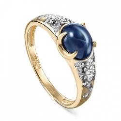 Кольцо из желтого/лимонного золота 585 пробы с бриллиантами и сапфиром звездчатым