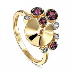 Кольцо из желтого/лимонного золота 585 пробы с бриллиантами и топазами