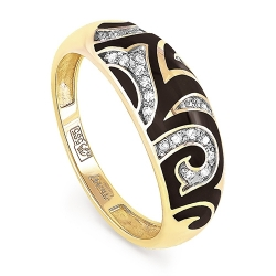 Кольцо из желтого/лимонного золота 750 пробы с бриллиантами и эмалью