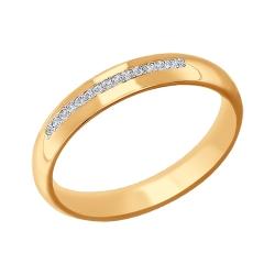 Обручальное кольцо из золота с фианитами SOKOLOV