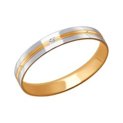 Обручальное кольцо из комбинированного золота с фианитами SOKOLOV