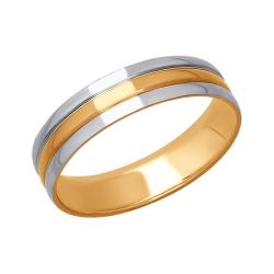 Обручальное кольцо из комбинированного золота без камней SOKOLOV