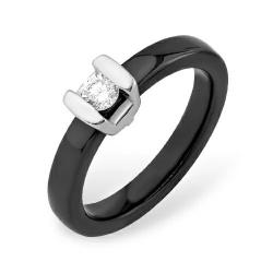 Кольцо из серебра 925 с керамики, фианитами
