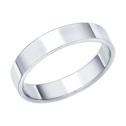Обручальное кольцо 4 мм из белого золота без камней SOKOLOV