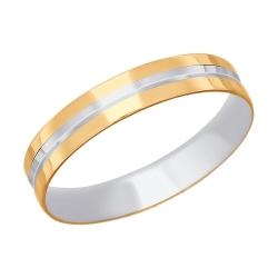 Золотое обручальное кольцо с алмазными гранями SOKOLOV