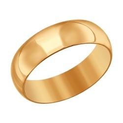 Золотое обручальное кольцо 6 мм без камней SOKOLOV