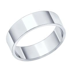 Обручальное кольцо из белого золота без камней SOKOLOV
