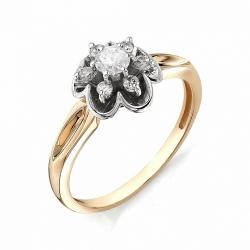 Кольцо Цветок с большим и маленькими бриллиантами