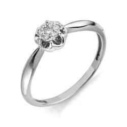 Кольцо Цветок из белого золота с бриллиантами