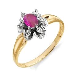 Золотое кольцо в виде цветка с овальным рубином