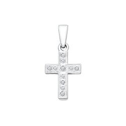Крестик из белого золота c бриллиантами SOKOLOV