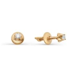Золотые серьги гвоздики с маленькими бриллиантами