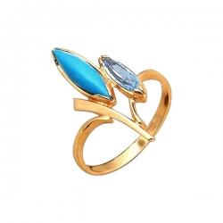 Кольцо из золота 585 пробы с бирюзой и фианитом