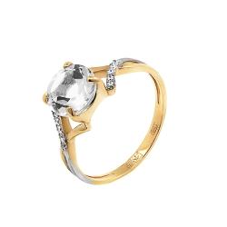 Кольцо из красного золота с горным хрусталём
