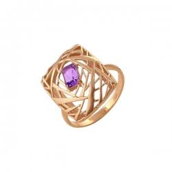 Кольцо из золота 585 пробы с аметистом